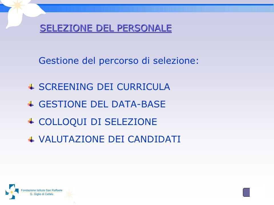 3 SELEZIONE DEL PERSONALE Gestione del percorso di selezione: SCREENING DEI CURRICULA GESTIONE DEL DATA-BASE COLLOQUI DI SELEZIONE VALUTAZIONE DEI CANDIDATI