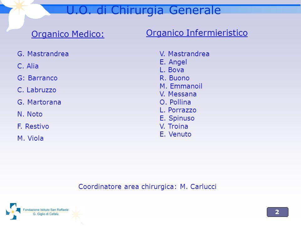 2 U.O. di Chirurgia Generale Organico Medico: G. Mastrandrea C. Alia G: Barranco C. Labruzzo G. Martorana N. Noto F. Restivo M. Viola Coordinatore are