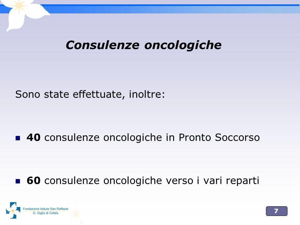 7 Consulenze oncologiche Sono state effettuate, inoltre: 40 consulenze oncologiche in Pronto Soccorso 60 consulenze oncologiche verso i vari reparti