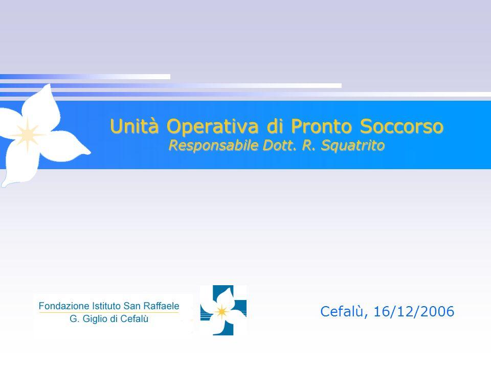 Unità Operativa di Pronto Soccorso Responsabile Dott. R. Squatrito Cefalù, 16/12/2006