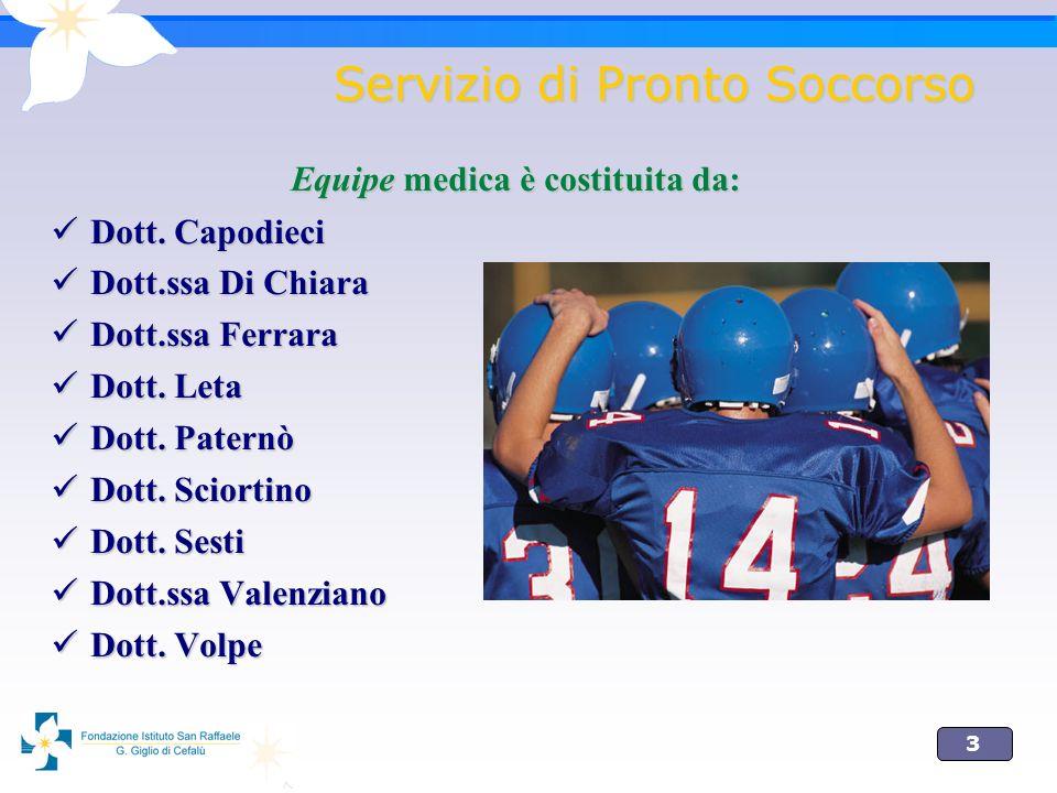 3 Servizio di Pronto Soccorso Equipe medica è costituita da: Dott.