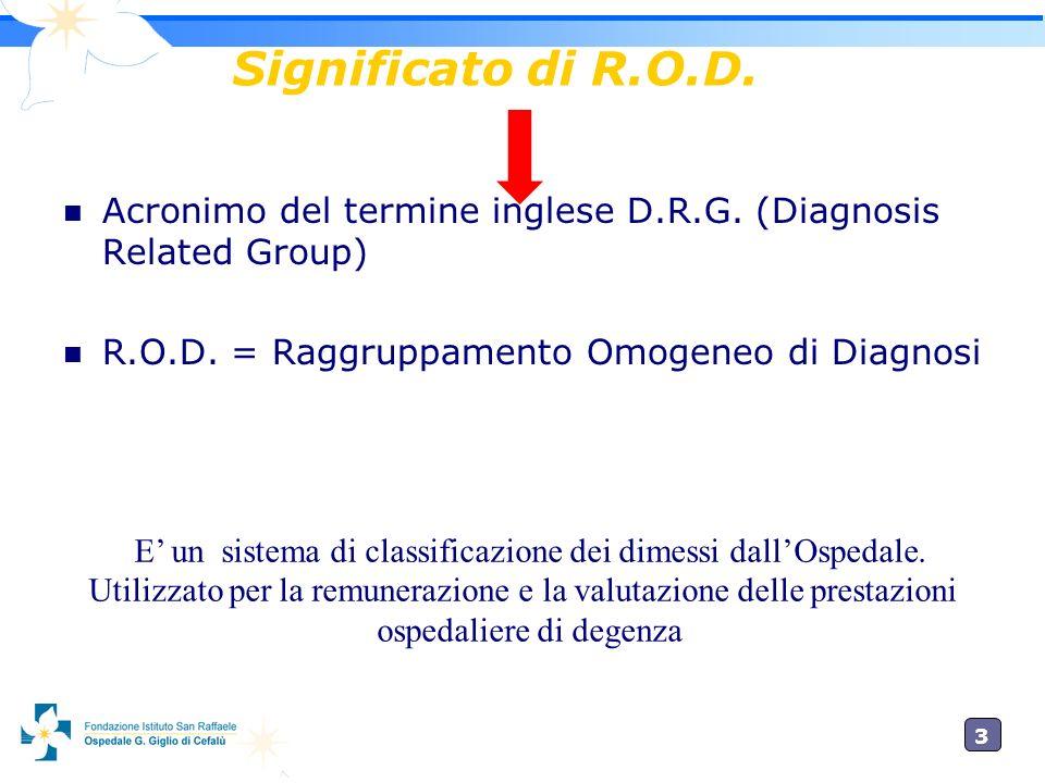3 Significato di R.O.D. Acronimo del termine inglese D.R.G. (Diagnosis Related Group) R.O.D. = Raggruppamento Omogeneo di Diagnosi E un sistema di cla