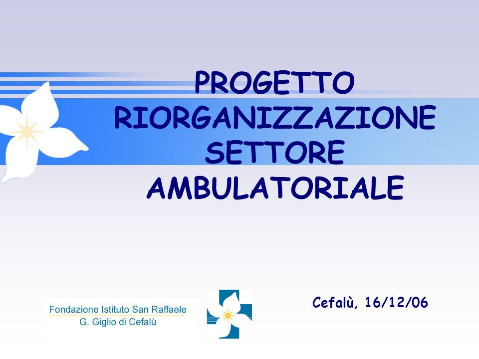 PROGETTO RIORGANIZZAZIONE SETTORE AMBULATORIALE Cefalù, 16/12/06