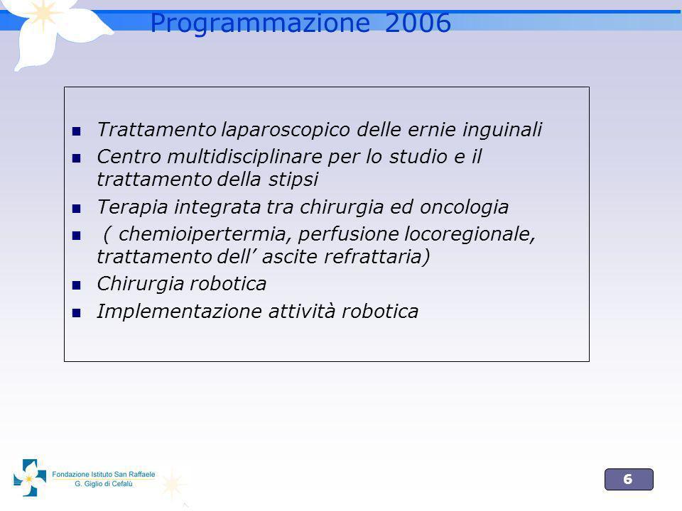 6 Programmazione 2006 Trattamento laparoscopico delle ernie inguinali Centro multidisciplinare per lo studio e il trattamento della stipsi Terapia integrata tra chirurgia ed oncologia ( chemioipertermia, perfusione locoregionale, trattamento dell ascite refrattaria) Chirurgia robotica Implementazione attività robotica