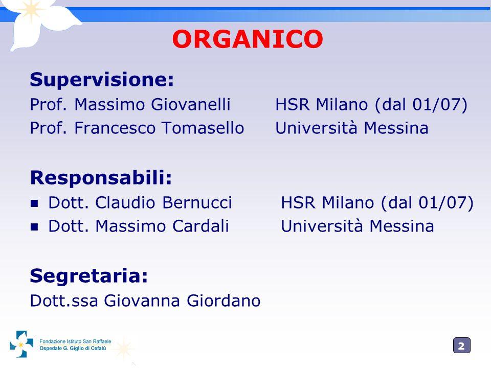 2 ORGANICO Supervisione: Prof. Massimo GiovanelliHSR Milano (dal 01/07) Prof. Francesco TomaselloUniversità Messina Responsabili: Dott. Claudio Bernuc