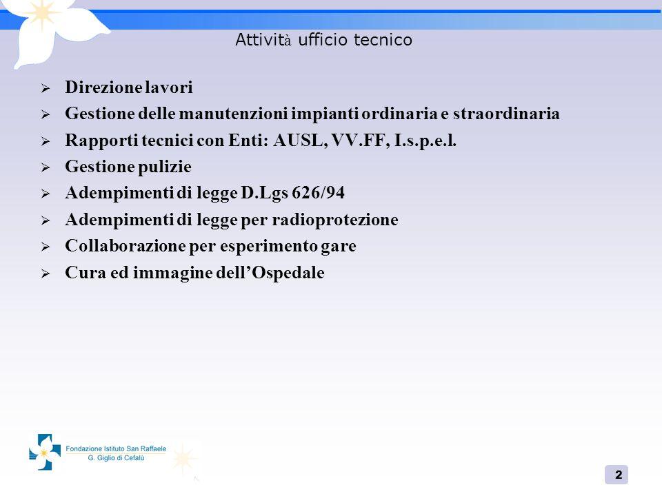 2 Attivit à ufficio tecnico Direzione lavori Gestione delle manutenzioni impianti ordinaria e straordinaria Rapporti tecnici con Enti: AUSL, VV.FF, I.