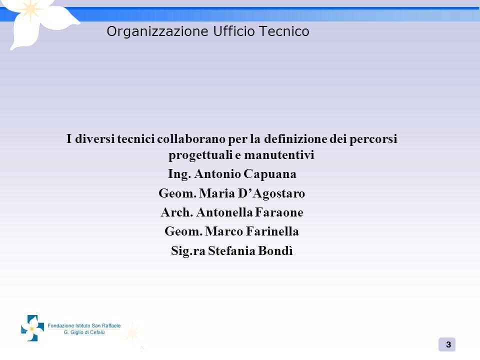 3 Organizzazione Ufficio Tecnico I diversi tecnici collaborano per la definizione dei percorsi progettuali e manutentivi Ing.
