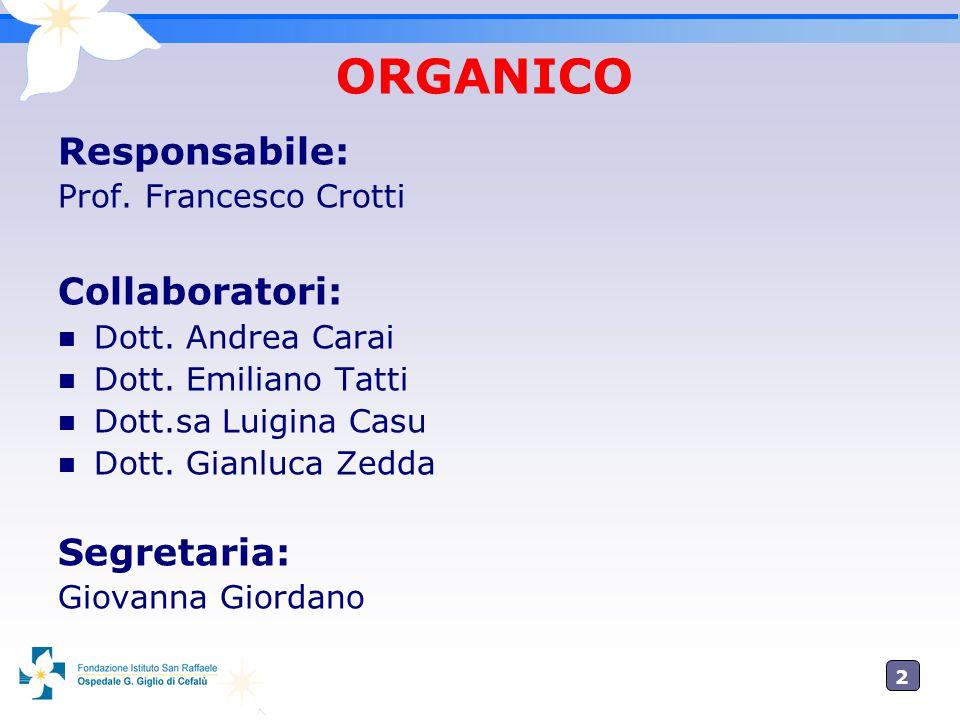 2 ORGANICO Responsabile: Prof. Francesco Crotti Collaboratori: Dott. Andrea Carai Dott. Emiliano Tatti Dott.sa Luigina Casu Dott. Gianluca Zedda Segre