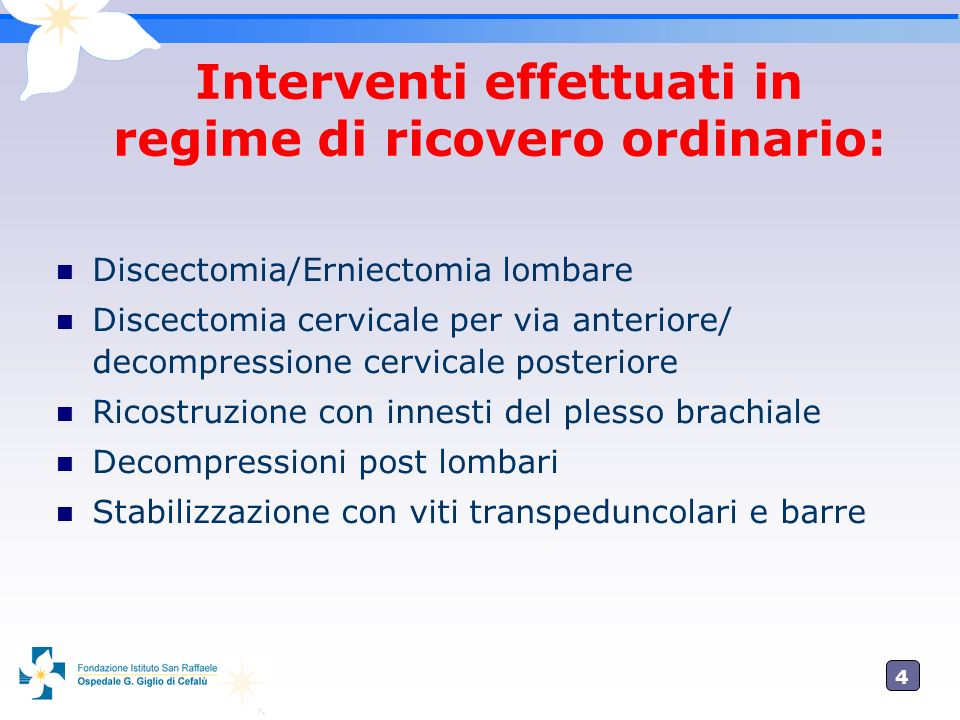 5 Interventi effettuati in regime di Day Surgery: Neurolisi a vari livelli: Intrappolamento nervo femorocutaneo Intrappolamento nervo peroneo comune Tunnel Tarsale Tunnel Carpale