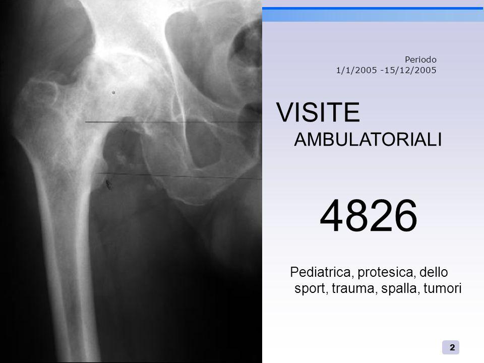 2 VISITE AMBULATORIALI 4826 Pediatrica, protesica, dello sport, trauma, spalla, tumori Periodo 1/1/2005 -15/12/2005