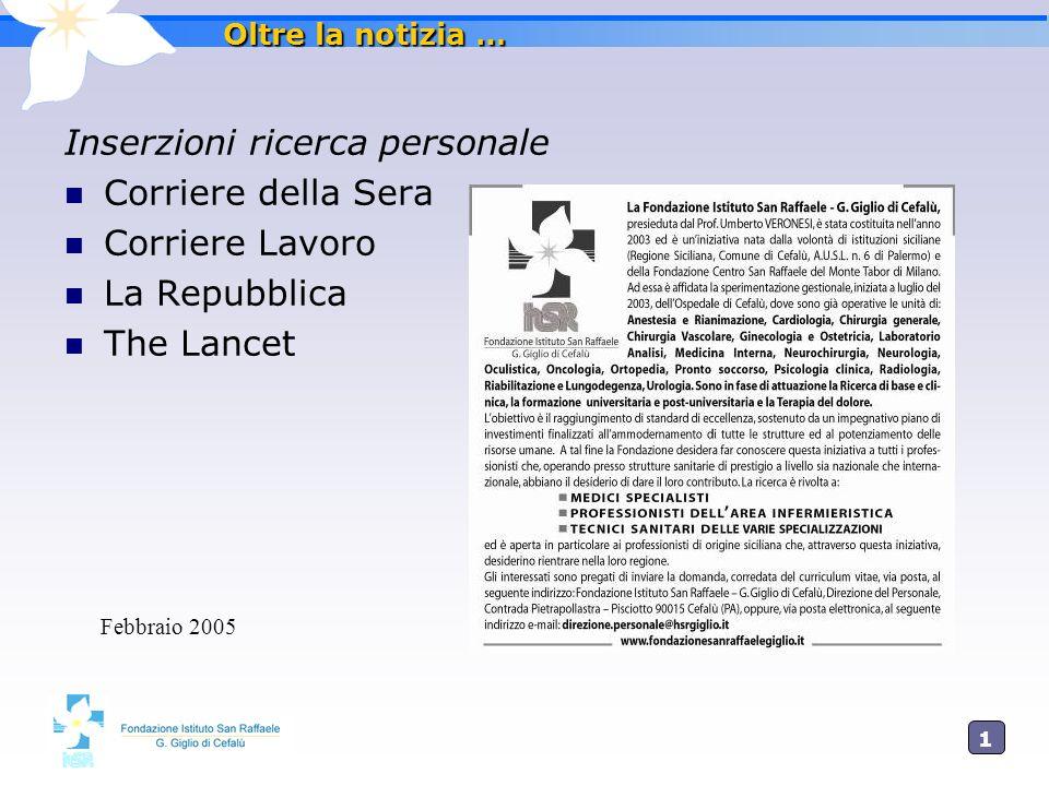 1515 Oltre la notizia … Inserzioni ricerca personale Corriere della Sera Corriere Lavoro La Repubblica The Lancet Febbraio 2005