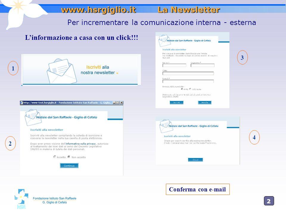 2 www.hsrgiglio.it La Newsletter Per incrementare la comunicazione interna - esterna Linformazione a casa con un click!!! 1 2 3 4 Conferma con e-mail
