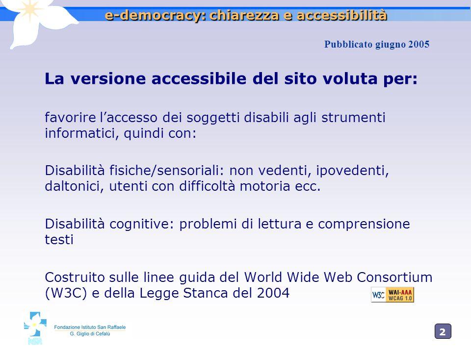 2525 e-democracy: chiarezza e accessibilità La versione accessibile del sito voluta per: favorire laccesso dei soggetti disabili agli strumenti inform