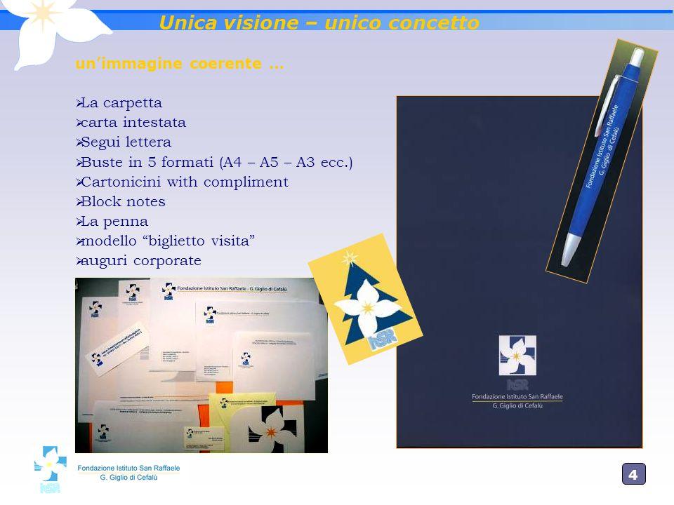 4 Unica visione – unico concetto unimmagine coerente … La carpetta carta intestata Segui lettera Buste in 5 formati (A4 – A5 – A3 ecc.) Cartonicini wi