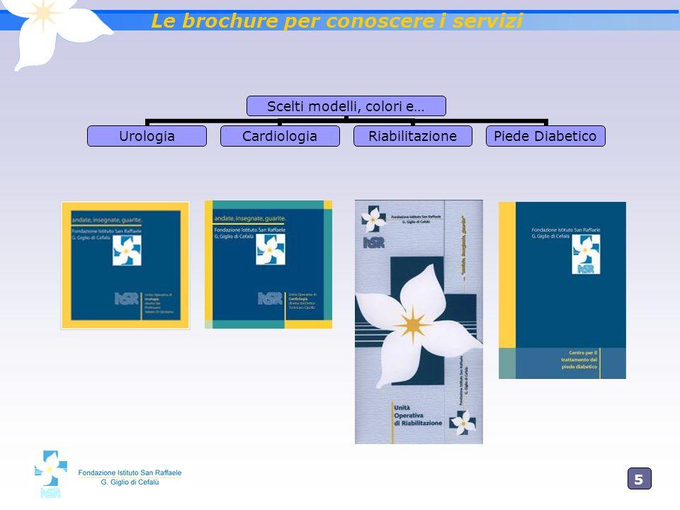 5 Le brochure per conoscere i servizi Scelti modelli, colori e… UrologiaCardiologiaRiabilitazione Piede Diabetico