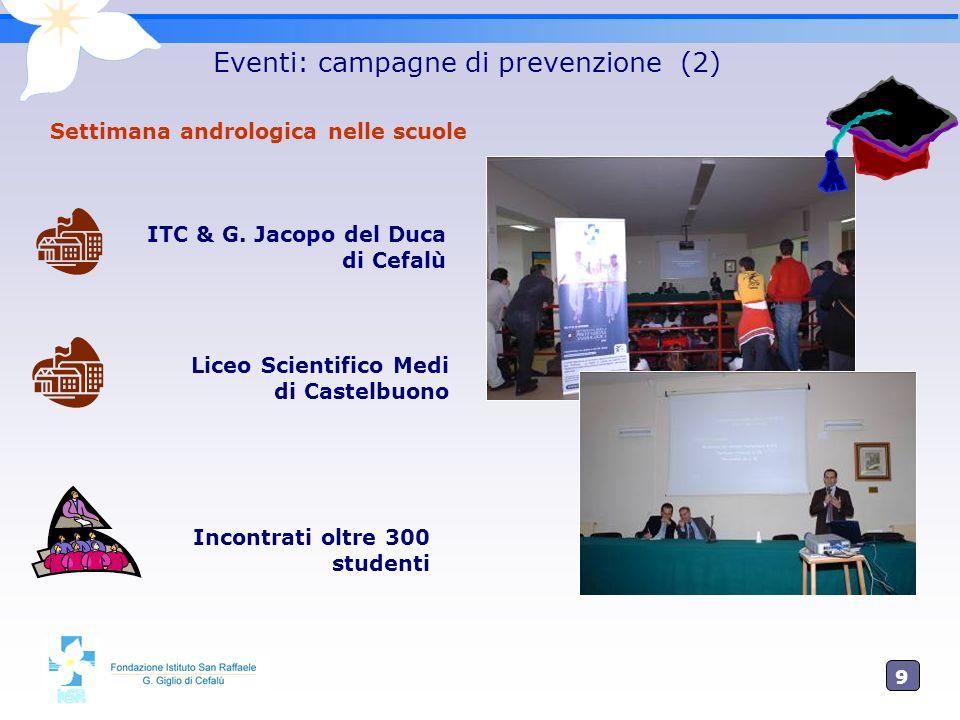 9 Eventi: campagne di prevenzione (2) Settimana andrologica nelle scuole ITC & G. Jacopo del Duca di Cefalù Liceo Scientifico Medi di Castelbuono Inco