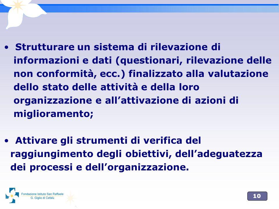 10 Strutturare un sistema di rilevazione di informazioni e dati (questionari, rilevazione delle non conformità, ecc.) finalizzato alla valutazione del