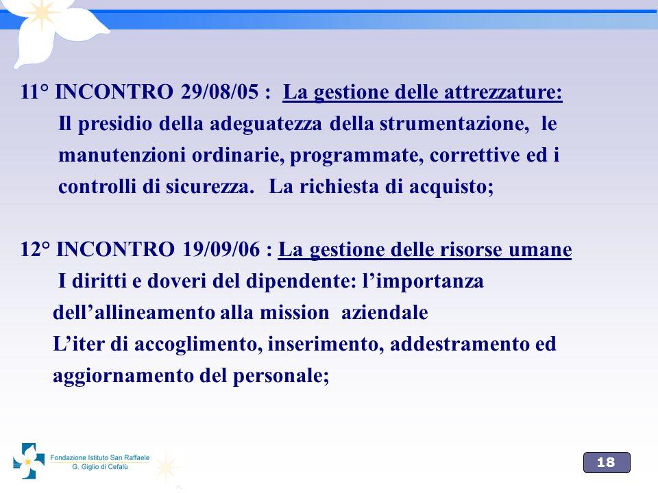 18 11° INCONTRO 29/08/05 : La gestione delle attrezzature: Il presidio della adeguatezza della strumentazione, le manutenzioni ordinarie, programmate,