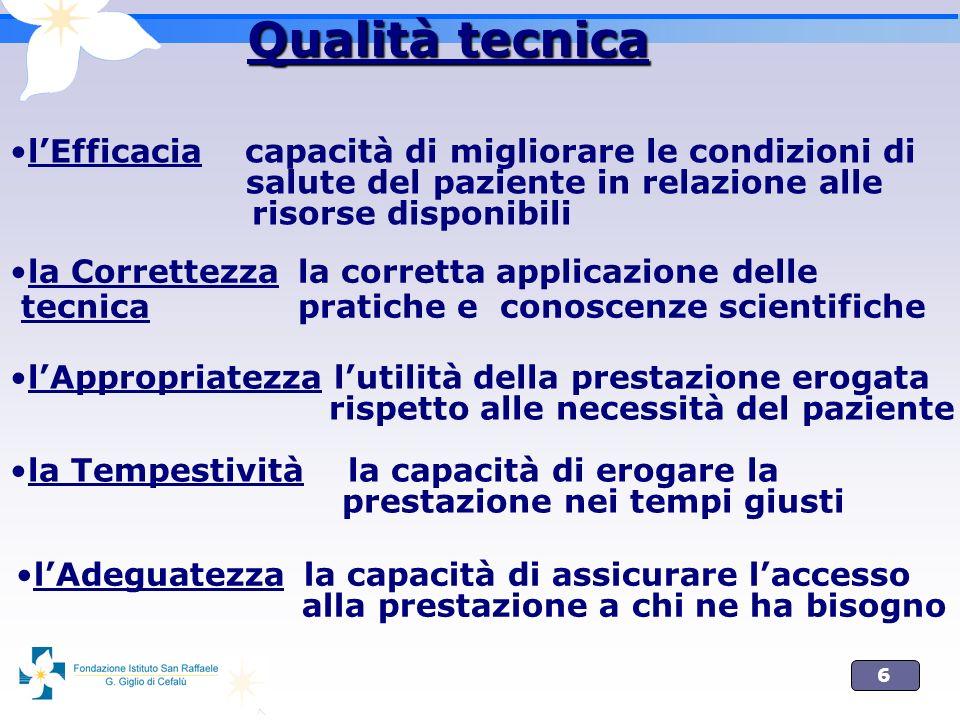 6 lEfficacia capacità di migliorare le condizioni di salute del paziente in relazione alle risorse disponibili Qualità tecnica la Correttezza la corre