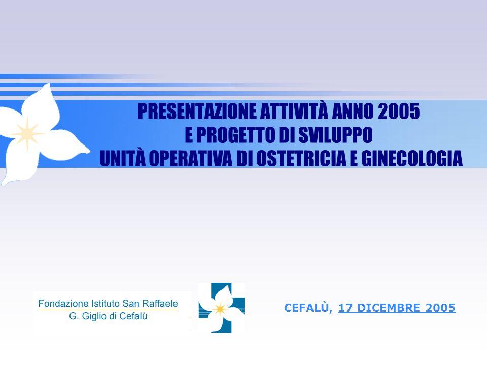 PRESENTAZIONE ATTIVITÀ ANNO 2005 E PROGETTO DI SVILUPPO UNITÀ OPERATIVA DI OSTETRICIA E GINECOLOGIA CEFALÙ, 17 DICEMBRE 2005