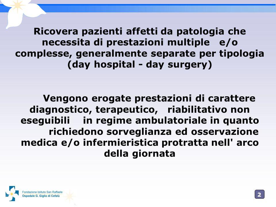 2 Ricovera pazienti affetti da patologia che necessita di prestazioni multiple e/o complesse, generalmente separate per tipologia (day hospital - day