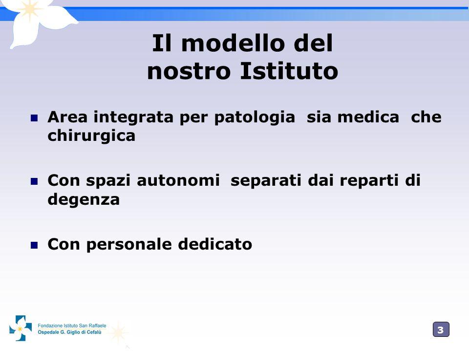 3 Area integrata per patologia sia medica che chirurgica Con spazi autonomi separati dai reparti di degenza Con personale dedicato Il modello del nost