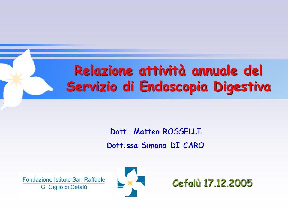 Relazione attività annuale del Servizio di Endoscopia Digestiva Cefalù 17.12.2005 Dott. Matteo ROSSELLI Dott.ssa Simona DI CARO