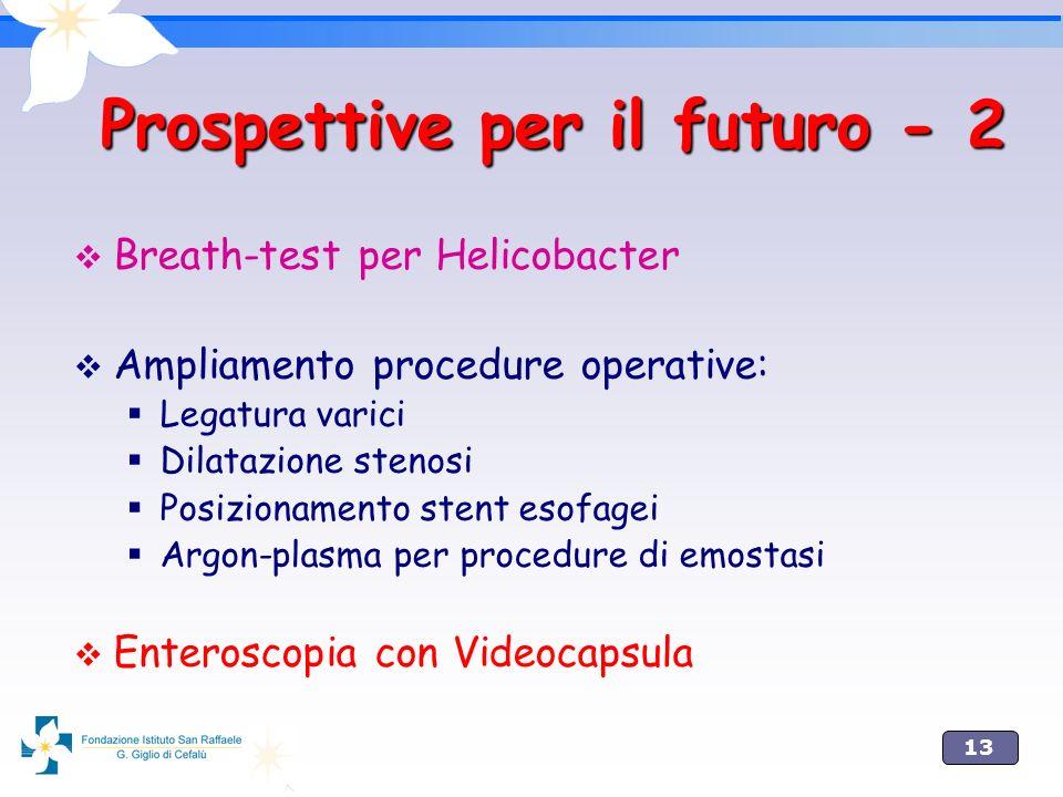 13 Prospettive per il futuro - 2 Breath-test per Helicobacter Ampliamento procedure operative: Legatura varici Dilatazione stenosi Posizionamento sten