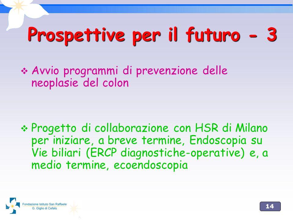 14 Prospettive per il futuro - 3 Avvio programmi di prevenzione delle neoplasie del colon Progetto di collaborazione con HSR di Milano per iniziare, a