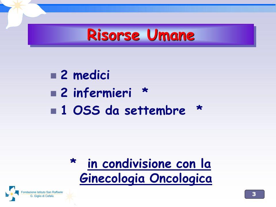 3 2 medici 2 infermieri * 1 OSS da settembre * * in condivisione con la Ginecologia Oncologica Risorse Umane