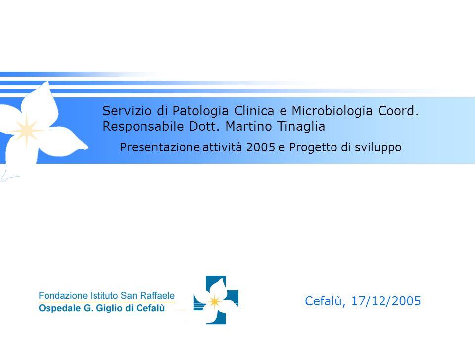 Servizio di Patologia Clinica e Microbiologia Coord. Responsabile Dott. Martino Tinaglia Presentazione attività 2005 e Progetto di sviluppo Cefalù, 17
