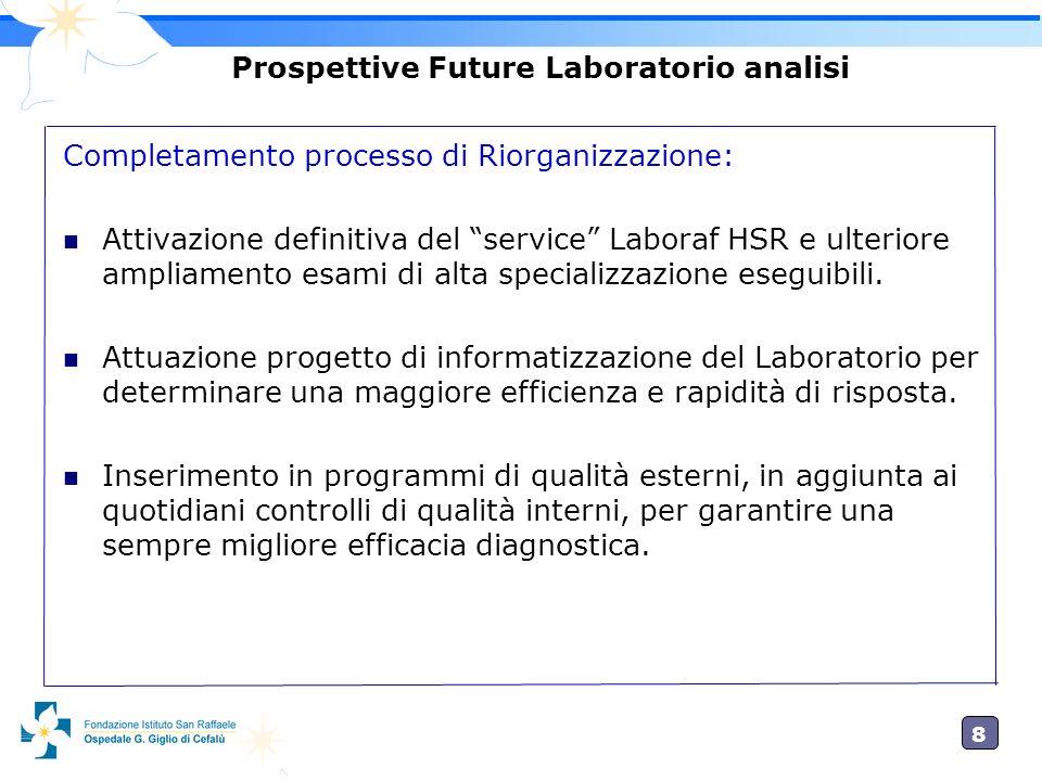 8 Prospettive Future Laboratorio analisi Completamento processo di Riorganizzazione: Attivazione definitiva del service Laboraf HSR e ulteriore amplia