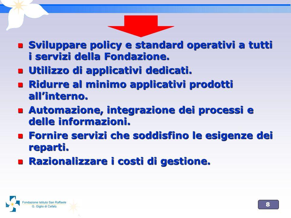 8 Sviluppare policy e standard operativi a tutti i servizi della Fondazione.