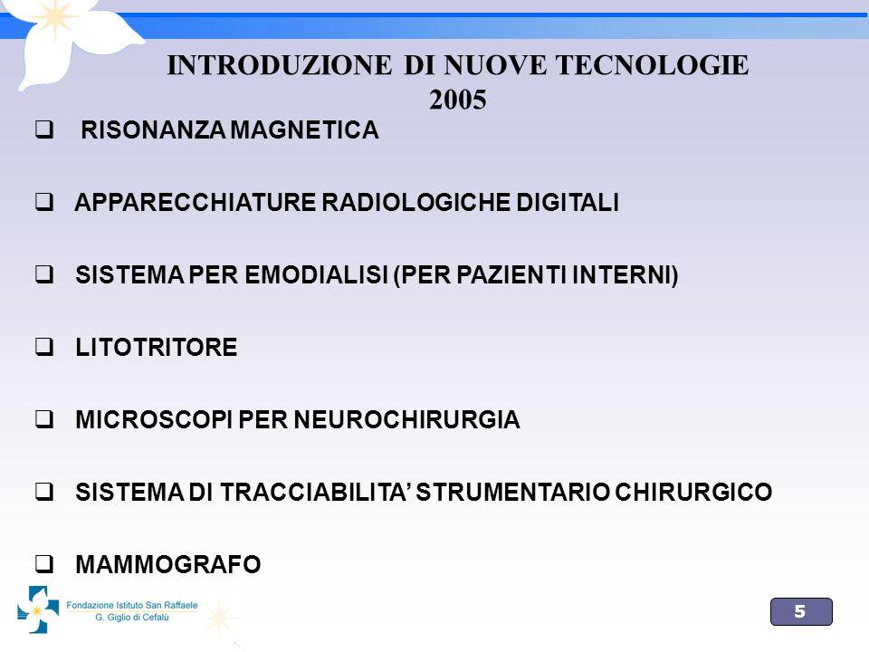 5 INTRODUZIONE DI NUOVE TECNOLOGIE 2005 RISONANZA MAGNETICA APPARECCHIATURE RADIOLOGICHE DIGITALI SISTEMA PER EMODIALISI (PER PAZIENTI INTERNI) LITOTR