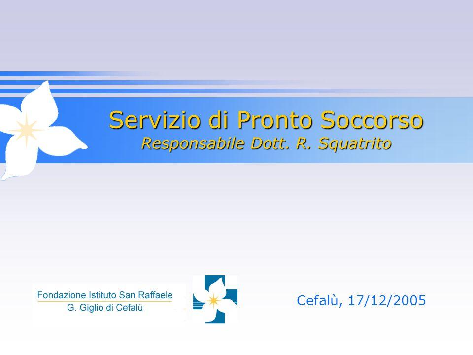 Servizio di Pronto Soccorso Responsabile Dott. R. Squatrito Cefalù, 17/12/2005