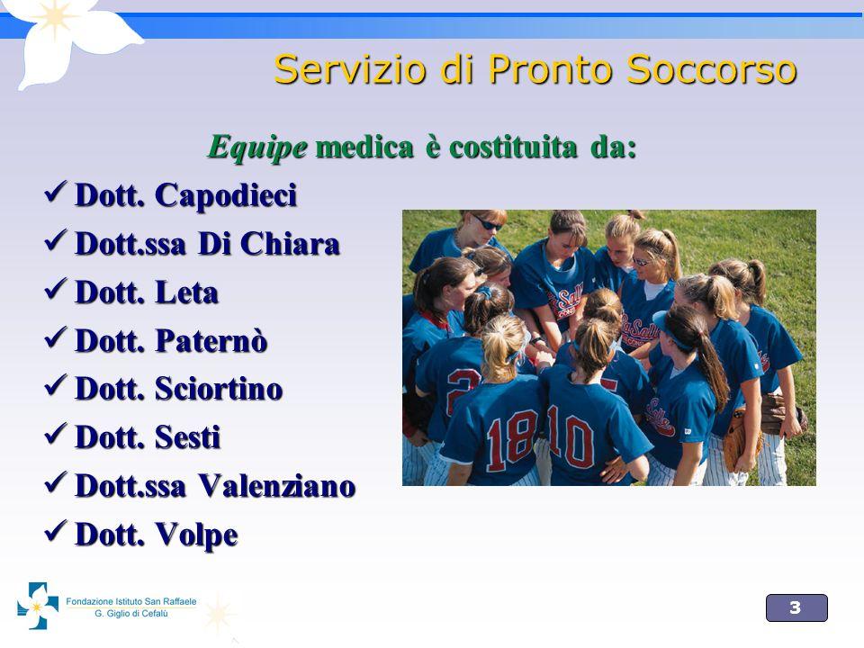 3 Servizio di Pronto Soccorso Equipe medica è costituita da: Dott. Capodieci Dott. Capodieci Dott.ssa Di Chiara Dott.ssa Di Chiara Dott. Leta Dott. Le