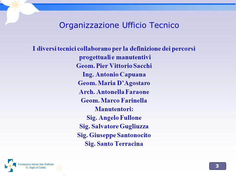 3 Organizzazione Ufficio Tecnico I diversi tecnici collaborano per la definizione dei percorsi progettuali e manutentivi Geom. Pier Vittorio Sacchi In