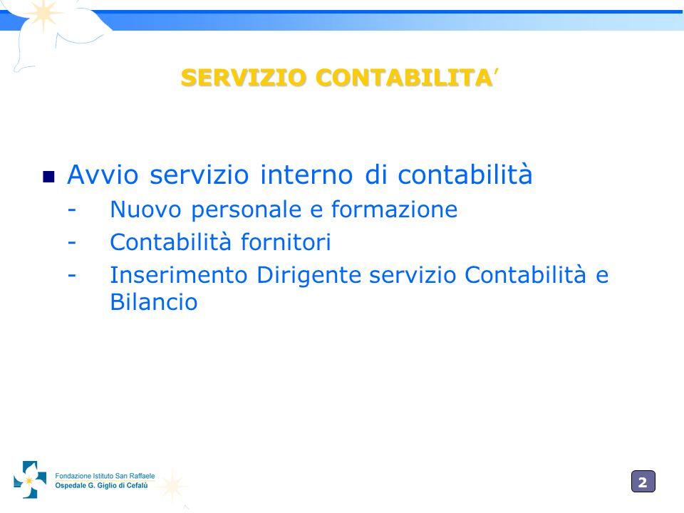 2 SERVIZIO CONTABILITA Avvio servizio interno di contabilità - Nuovo personale e formazione - Contabilità fornitori - Inserimento Dirigente servizio Contabilità e Bilancio