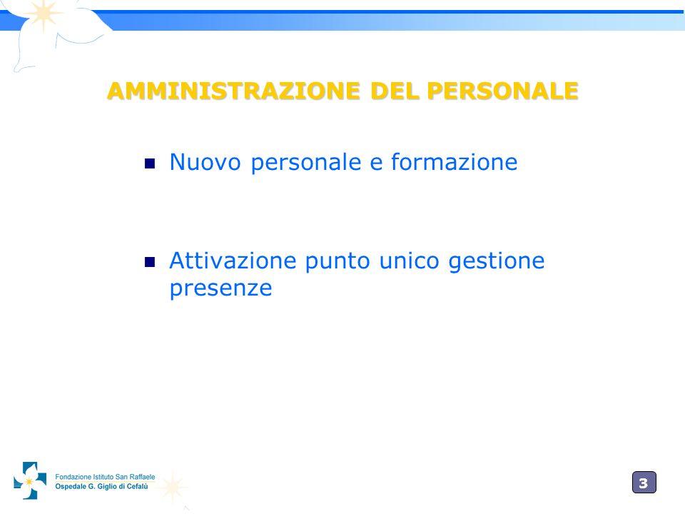 3 AMMINISTRAZIONE DEL PERSONALE Nuovo personale e formazione Attivazione punto unico gestione presenze