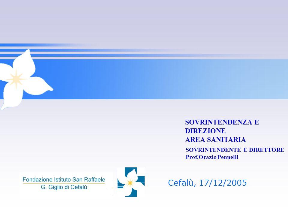 Cefalù, 17/12/2005 SOVRINTENDENZA E DIREZIONE AREA SANITARIA SOVRINTENDENTE E DIRETTORE Prof.Orazio Pennelli