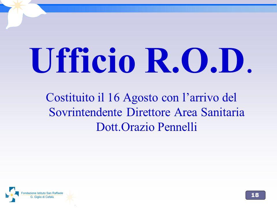 18 Ufficio R.O.D. Costituito il 16 Agosto con larrivo del Sovrintendente Direttore Area Sanitaria Dott.Orazio Pennelli