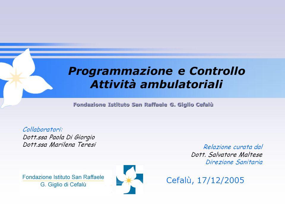 Cefalù, 17/12/2005 Fondazione Istituto San Raffaele G. Giglio Cefalù Programmazione e Controllo Attività ambulatoriali Relazione curata dal Dott. Salv