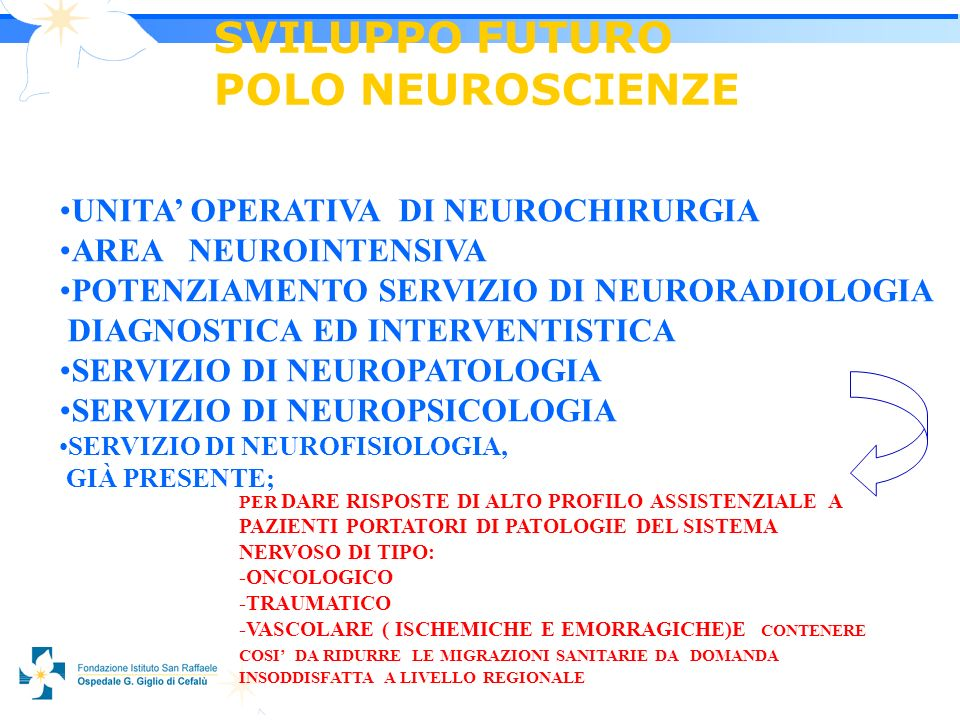 2121 UNITA OPERATIVA DI NEUROCHIRURGIA AREA NEUROINTENSIVA POTENZIAMENTO SERVIZIO DI NEURORADIOLOGIA DIAGNOSTICA ED INTERVENTISTICA SERVIZIO DI NEUROPATOLOGIA SERVIZIO DI NEUROPSICOLOGIA PER DARE RISPOSTE DI ALTO PROFILO ASSISTENZIALE A PAZIENTI PORTATORI DI PATOLOGIE DEL SISTEMA NERVOSO DI TIPO: -ONCOLOGICO -TRAUMATICO -VASCOLARE ( ISCHEMICHE E EMORRAGICHE)E CONTENERE COSI DA RIDURRE LE MIGRAZIONI SANITARIE DA DOMANDA INSODDISFATTA A LIVELLO REGIONALE SERVIZIO DI NEUROFISIOLOGIA, GIÀ PRESENTE;