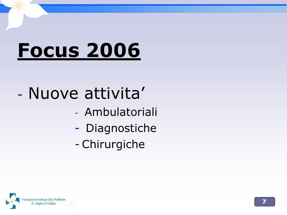 8 Nuove attivita ambulatoriali e diagnostiche Oftalmologia pediatrica Glaucoma Retina medica