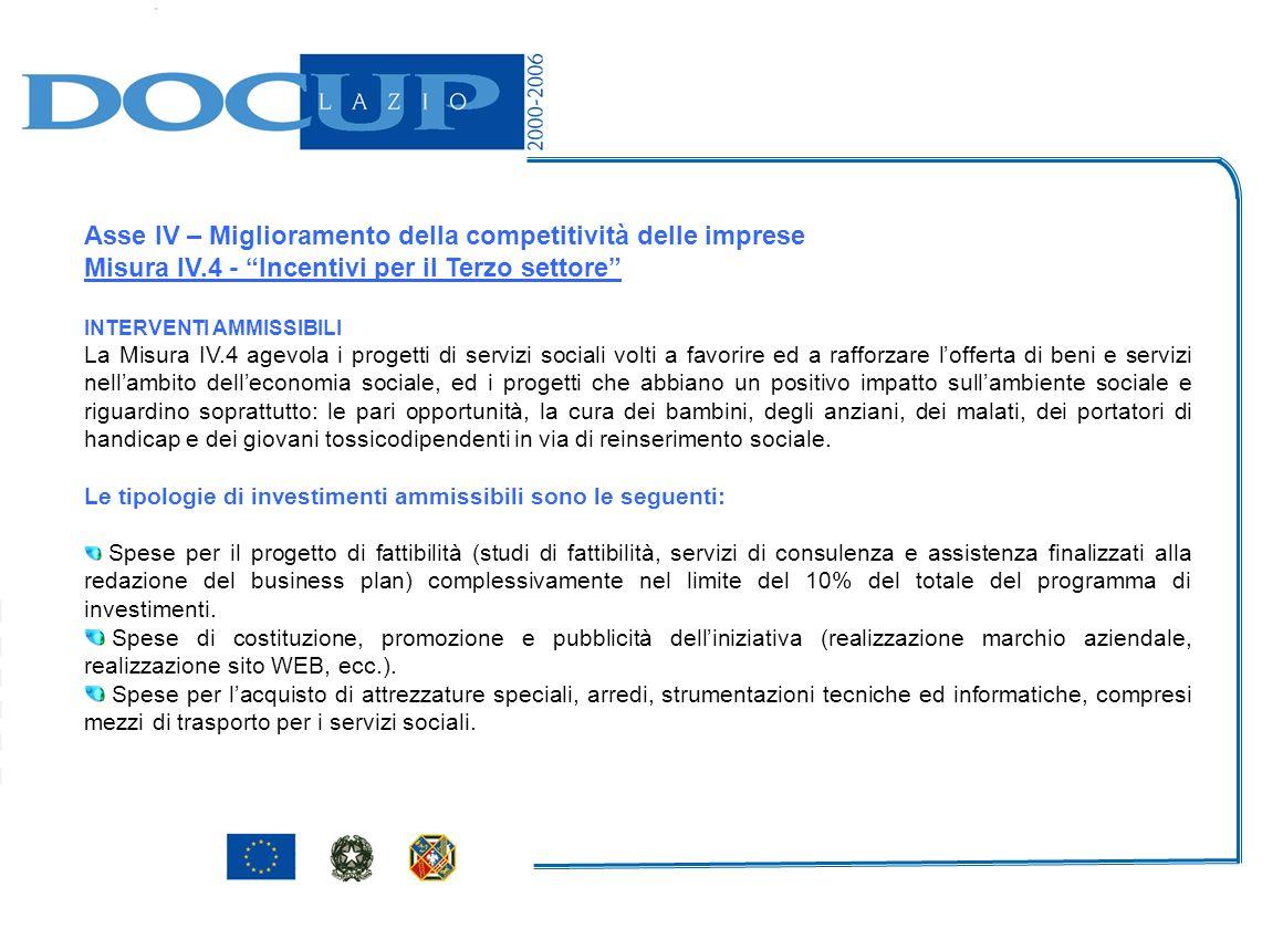 Asse IV – Miglioramento della competitività delle imprese Misura IV.4 - Incentivi per il Terzo settore INTERVENTI AMMISSIBILI La Misura IV.4 agevola i