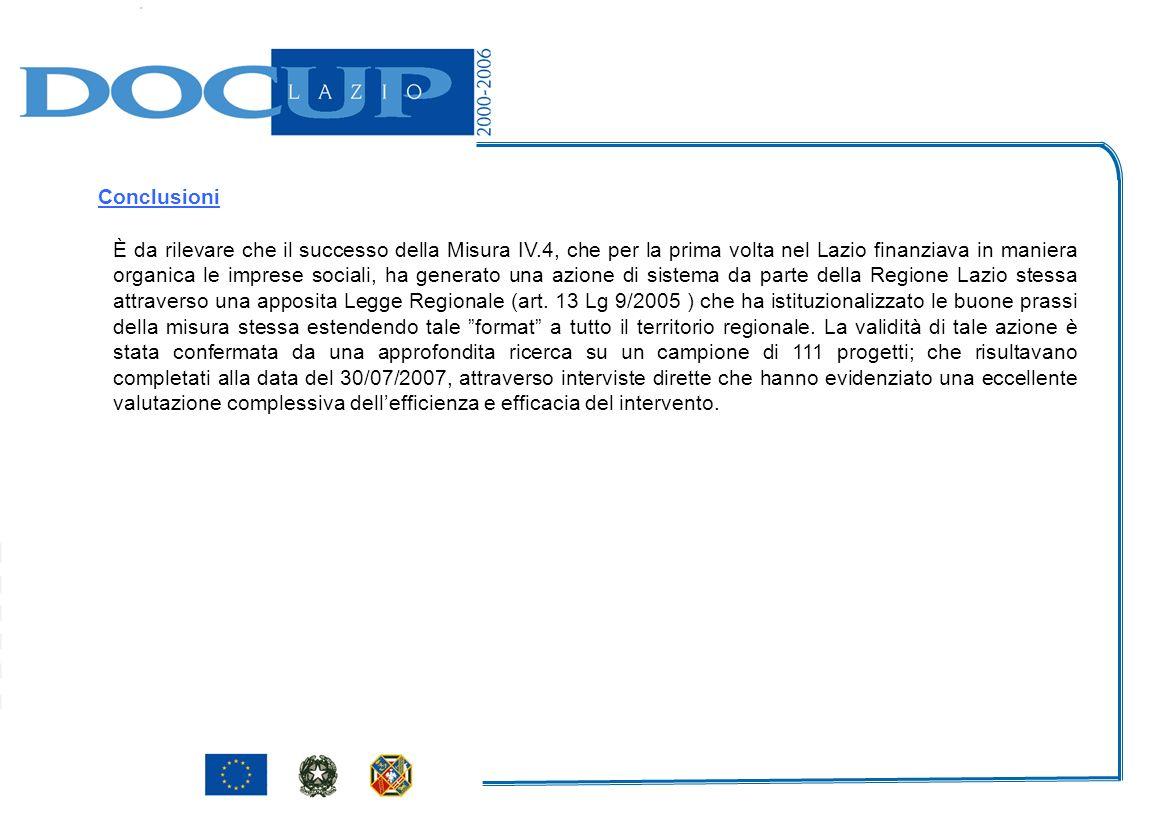 È da rilevare che il successo della Misura IV.4, che per la prima volta nel Lazio finanziava in maniera organica le imprese sociali, ha generato una a