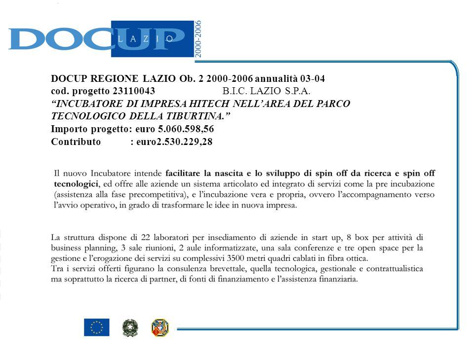 DOCUP REGIONE LAZIO Ob. 2 2000-2006 annualità 03-04 cod.