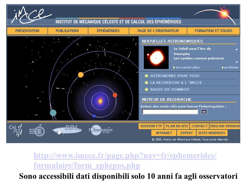 http://www.imcce.fr/page.php?nav=fr/ephemerides/ formulaire/form_ephepos.php Sono accessibili dati disponibili solo 10 anni fa agli osservatori