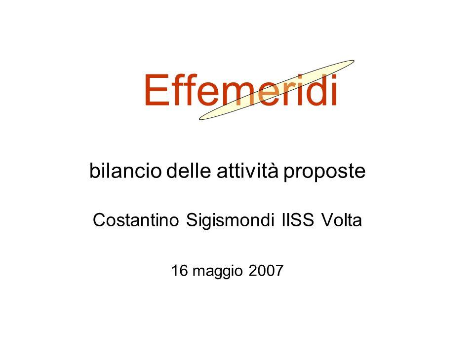Effemeridi bilancio delle attività proposte Costantino Sigismondi IISS Volta 16 maggio 2007