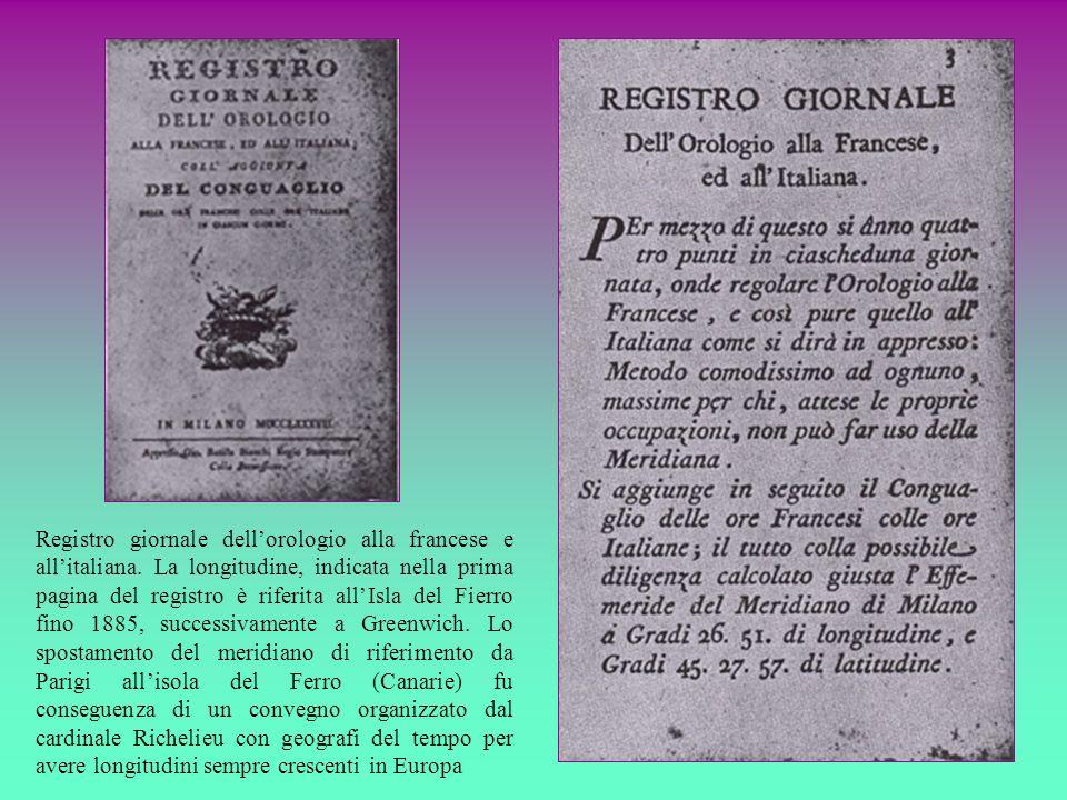 Registro giornale dellorologio alla francese e allitaliana. La longitudine, indicata nella prima pagina del registro è riferita allIsla del Fierro fin